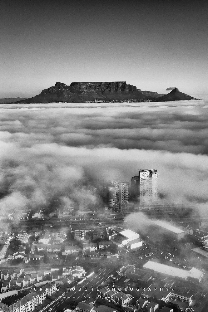 Table Mountain from a helicopter