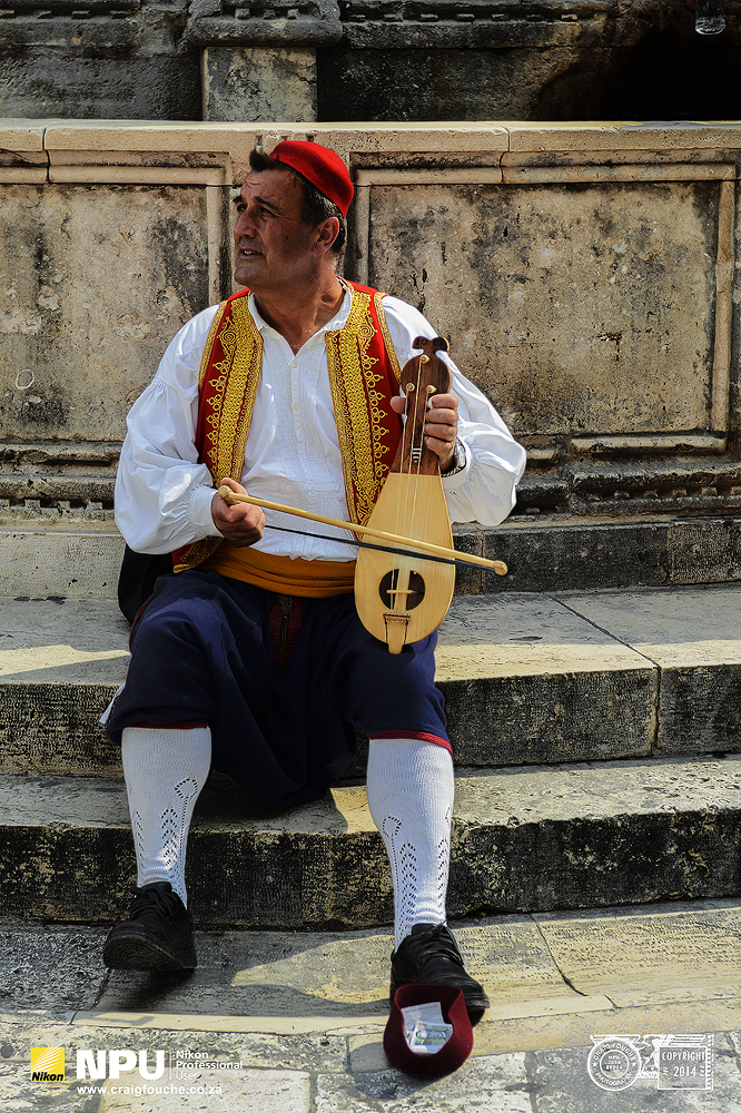 Traditional Musician Playing a Lijerica, Dubrovnik, Croatia