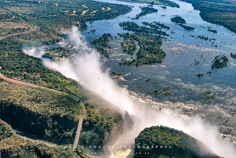 Victoria Falls, Zimbabwe from a helicopter