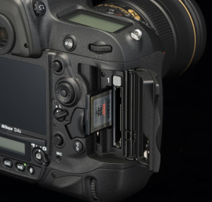 The Nikon D4 and D4S (shown here) DSLR cameras feature two media card slots—one XQD and one CompactFlash.