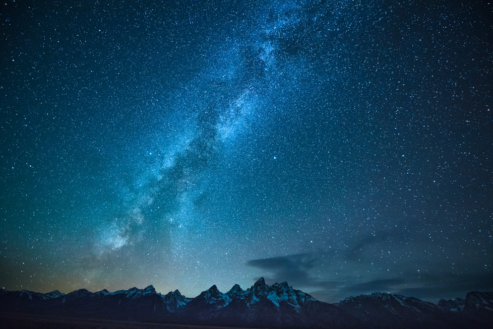The Milky Way over the Teton Range, Grand Teton National Park, Wyoming. D5, AF-S NIKKOR 14-24mm f/2.8G ED, 15 seconds, f/2.8, ISO 5000, manual exposure, Matrix metering. Photo by: Diana Robinson